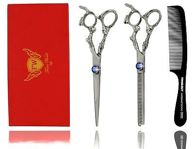 PROFESSIONAL Dragon Hairdressing Scissors Set Hair Cutting Thinning Shears+ Case