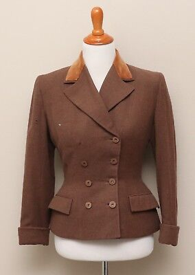 Vintage 1940s Womens Lady Sarina Brown Wool DblBreasted Blazer w/ Velvet Collar