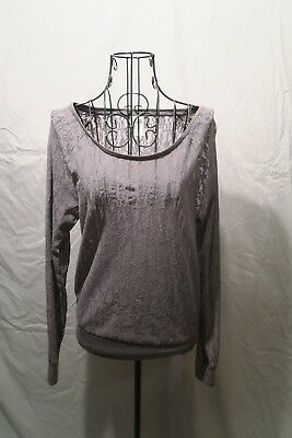 PINK Gray Lace Top - XS