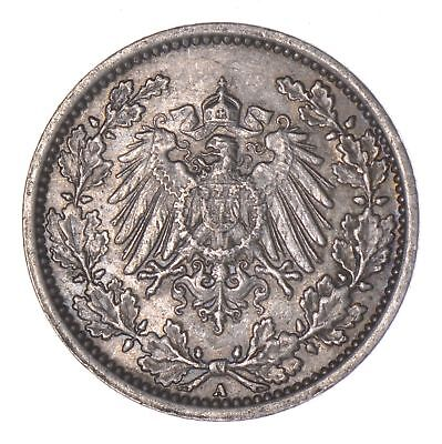 SILVER - 1918 Germany 1/2 Mark - World Silver Coin *289