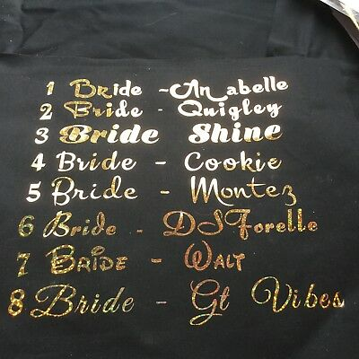 Bridal, Wedding, Henparty T Shirt Transfers Choice Of Plain Or Glitter Look