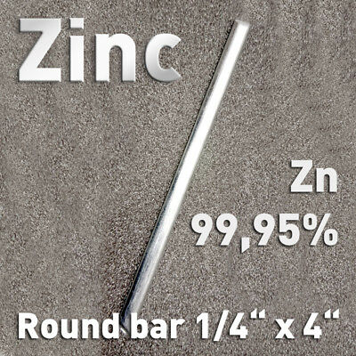 "Zinc Rod 1/4"" x 4"" High Purity Zn 99.95% Ingot Round Bar Anode Electroplating"