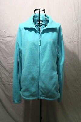 Columbia Fleece Zip-Up Turquoise Jacket - Size XL