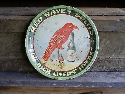 Red Raven Splits 1920-30's Era Litho Tin Serving Tray Red Raven Aperient Water