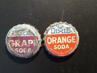 2 Different  Dixie   Soda  Bottle Caps -  Used - Cork Lined