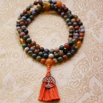 6mm Natural agate yellow gemstones Mala knotted Necklace Buddhist Prayer Beads