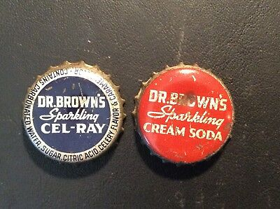 2 Different  Dr. Brown's    Soda  Bottle Caps -  Used - Cork Lined