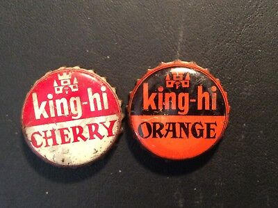 2 Different  King - Hi   Soda  Bottle Caps -  Used - Cork  Lined