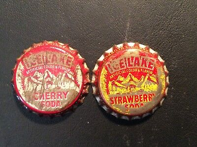 2 Different  Ice Lake   Soda  Bottle Caps -  Used - Cork  Lined