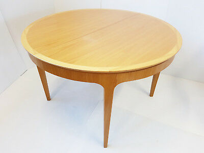 Table Meals Scandinavian Round Oval Vintage 1950 Oak & Sycamore 50S 50's