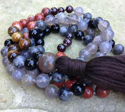 8MM HEALING SOOTHING gemstones Mala knotted Necklace Buddhist Prayer Beads