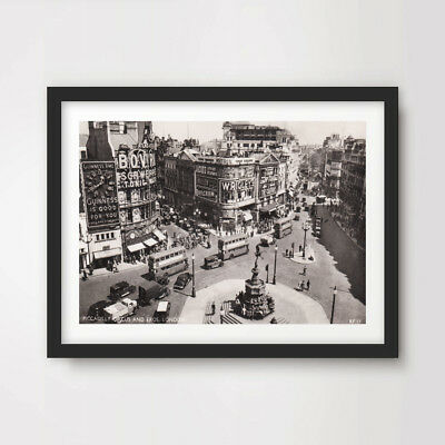 PICCADILLY CIRCUS PICTURE  PRINT ON WOOD  FRAMED CANVAS WALL ART DECORATING