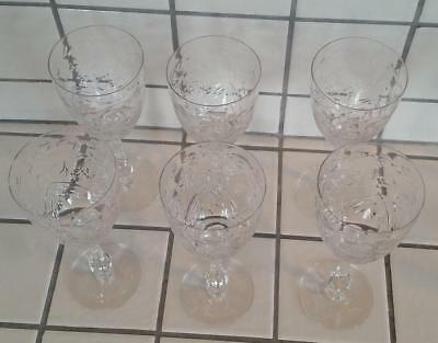 6 Antique Exquisite 1930's Cut Crystal Goblets Wine Water Glasses