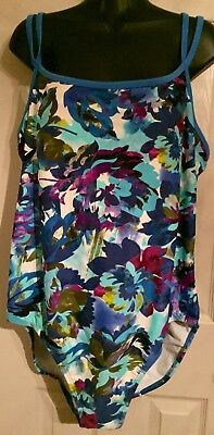 Catalina Sz 22W 24W 3X Bathingsuit Womans Blue Swimsuit Floral 1 Piece Sexy