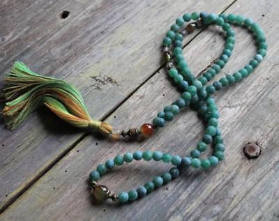 8mm Green Agate Natural gemstones Mala knotted Necklace Buddhist Prayer Beads