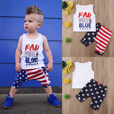 US Independence Day Newborn Kids Toddler Baby Boy Clothes Tops+Pants Outfits Set
