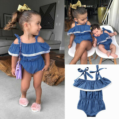 UK Newborn Baby Girls Sleeveless Romper Jumpsuit Sunsuit Clothes Summer Outfits