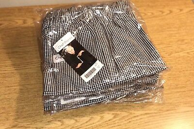 "(4) NEW Chef Works NBCP-000-XS Checkered Baggy Designer Chef Pants ""X-Small"""