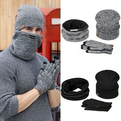 3pcs Scarf & Hat & Gloves Set Mens Womens Knitted Beanie Scarves Hats Ski Cap AU