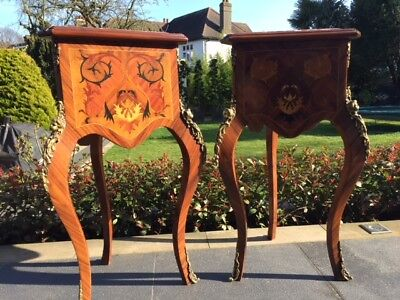 Pair of Rare Vintage Mahogany Louis French Triangular Side Table Marble Top