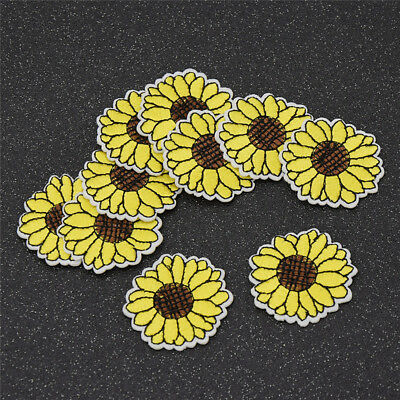 10Pcs Yellow Sunflower Patches Iron on Patch Embroidered Applique Sewing Craft