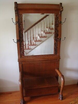 Vintage Antique Oak Hall Rack with Lions Heads and Claw Feet.