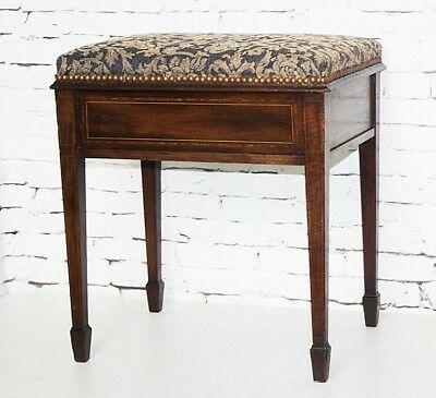 Antique Victorian Mahogany Piano Dressing Stool - FREE Shipping [PL4392]