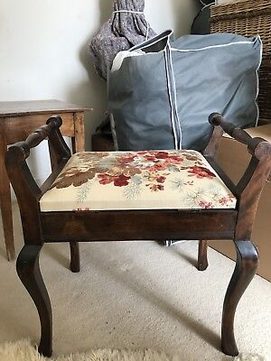 Antique Piano / Organ Stool w Storage Upholstered (Colefax & Fowler linen union)