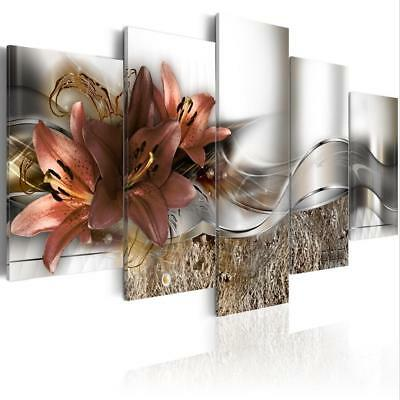 Abstract Lines of Magnolia Flowers Fashion Wall Art Canvas Painting 5 Pieces