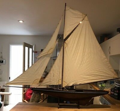 """Large Vintage Pond Yacht on stand, 5 sails, 4' (124cm) high by 4'7""""(145cm) wide"""