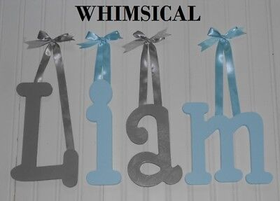 """Painted Wooden Wall Letters 8"""" size Home Decor Kids Room Baby Nursery Whimsical"""