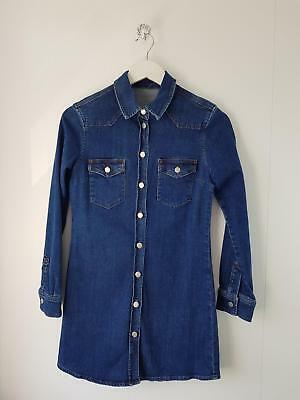 2dd517b655 Topshop Moto Womens Size Uk 10 Blue Denim Long Sleeved Western Short Shirt  Dress