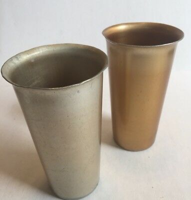 Set of 2 Vintage Aluminum Torino Tumblers Drinking Glasses Cups Italy