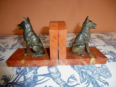 French Art Deco Spelter German Shepherd Bookends On Marble Bases
