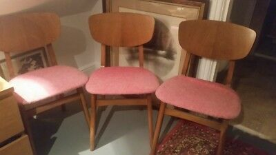 Antique Remploy Wooden Chairs Pink Seat Covers Set Of 3 Original Collectable