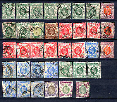 Hong Kong China 1903-1904 Kevii Selection Of Used Stamps Pmk Interest