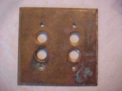 Brass Push Button Switch 2 / Double Gang Plate Old Patina Circa 1920's