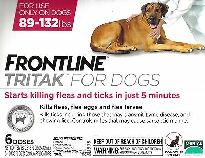 Frontline Tritak Flea Lice Tick Remedy for Dogs 89-132 lbs 6 Month Dose
