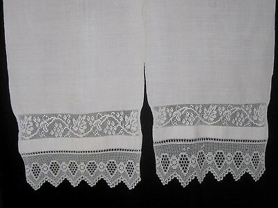 "ANTIQUE RUSSIAN IMPERIAL CIRCA 19th CENTURY LINEN TOWEL HAND CROCHET LACE~ 91""L"