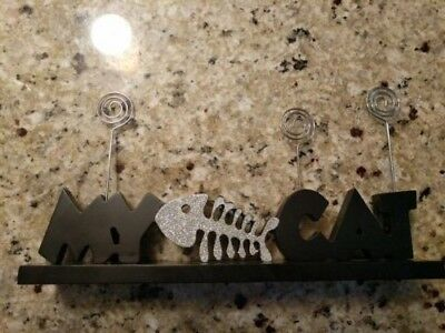Cat picture frame/holder, Holds 3 pictures, Black and silver