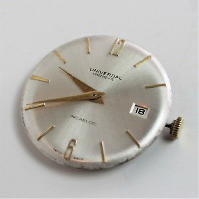 Vintage Universal Geneve Date Incabloc Dial and Hands FOR PARTS