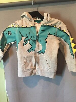 Boys' Cat & Jack Size 4T Gray Hooded Zip Front Dinosaur Jacket With Spikes