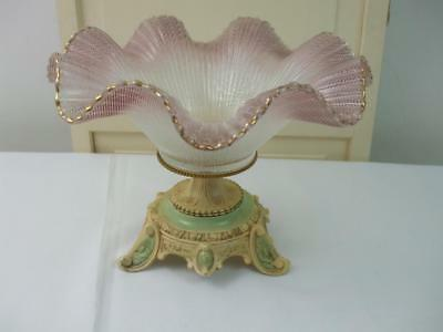 Hollywood Regency Green Cream Ornate Metal Claw Feet Handkerchief Glass Bowl Top