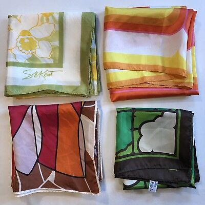 4 Scarves Square Rain Water Repellent Abstract Geometric Bright Vtg Scarf Lot