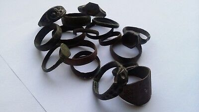 Lot of 17 bronze roman medieval rings. Ancient artifacts.