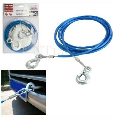 4M Heavy Duty Car Steel Tow Rope With Hooks 2 Tons Recover Emergency Cable Van