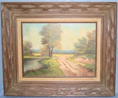 Oil On Canvas Framed Painting Country Landscape Dirt Road Pond Hill Trees Artist