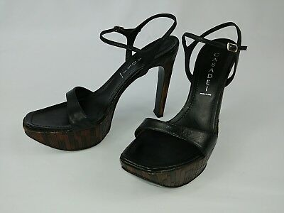 7 High Heel Black Leather Italy Made 5 Sandals Platform In Casadei lJF1cK