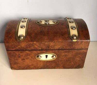 Antique Victorian Burr Walnut Dome Topped Brass Inlaid Box