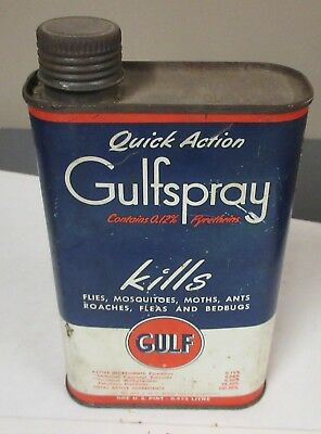 Vintage Antique Gulf Gas & Oil Advertising Gulfspray Insect Killer Tin Can